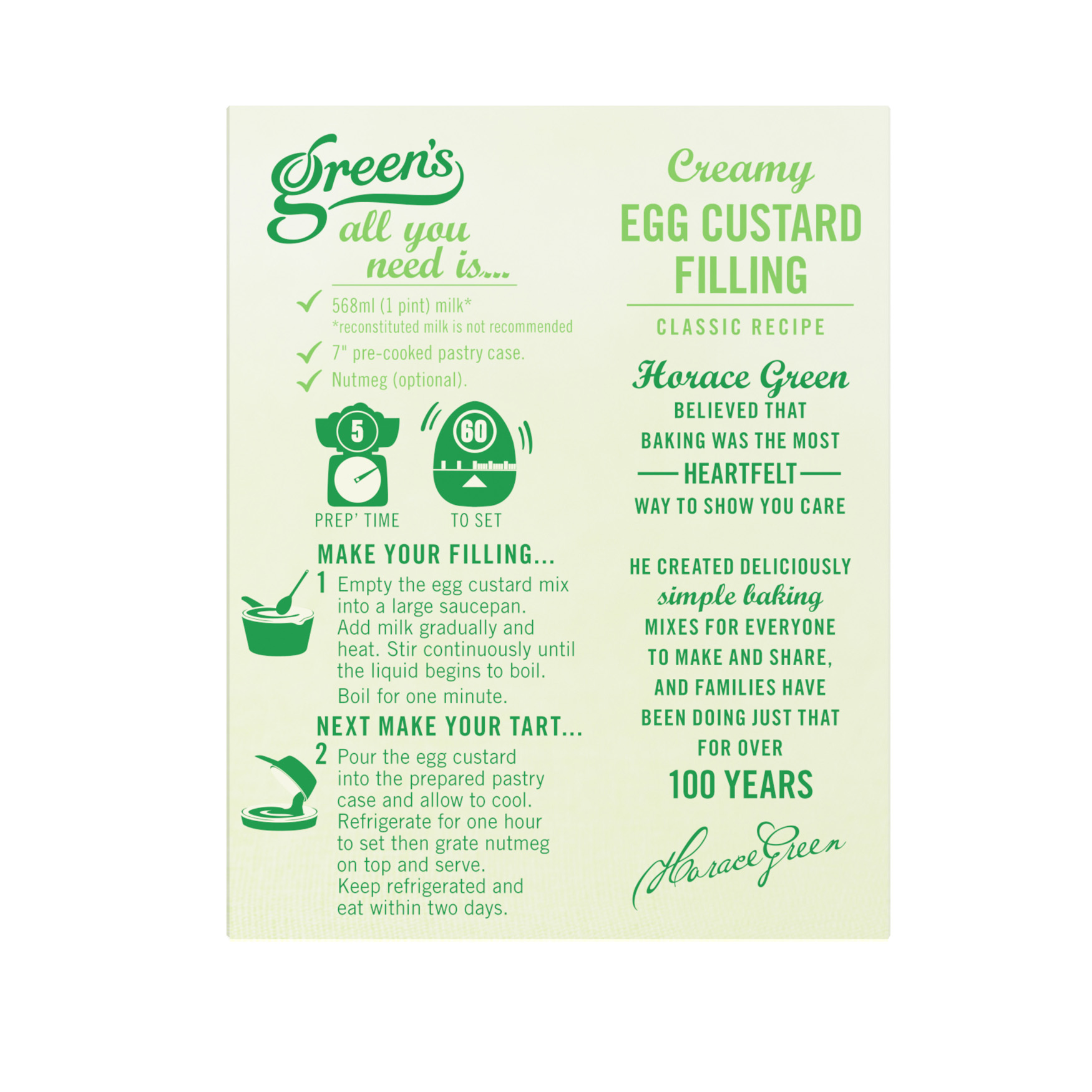 Egg Custard Mix Packaging Back