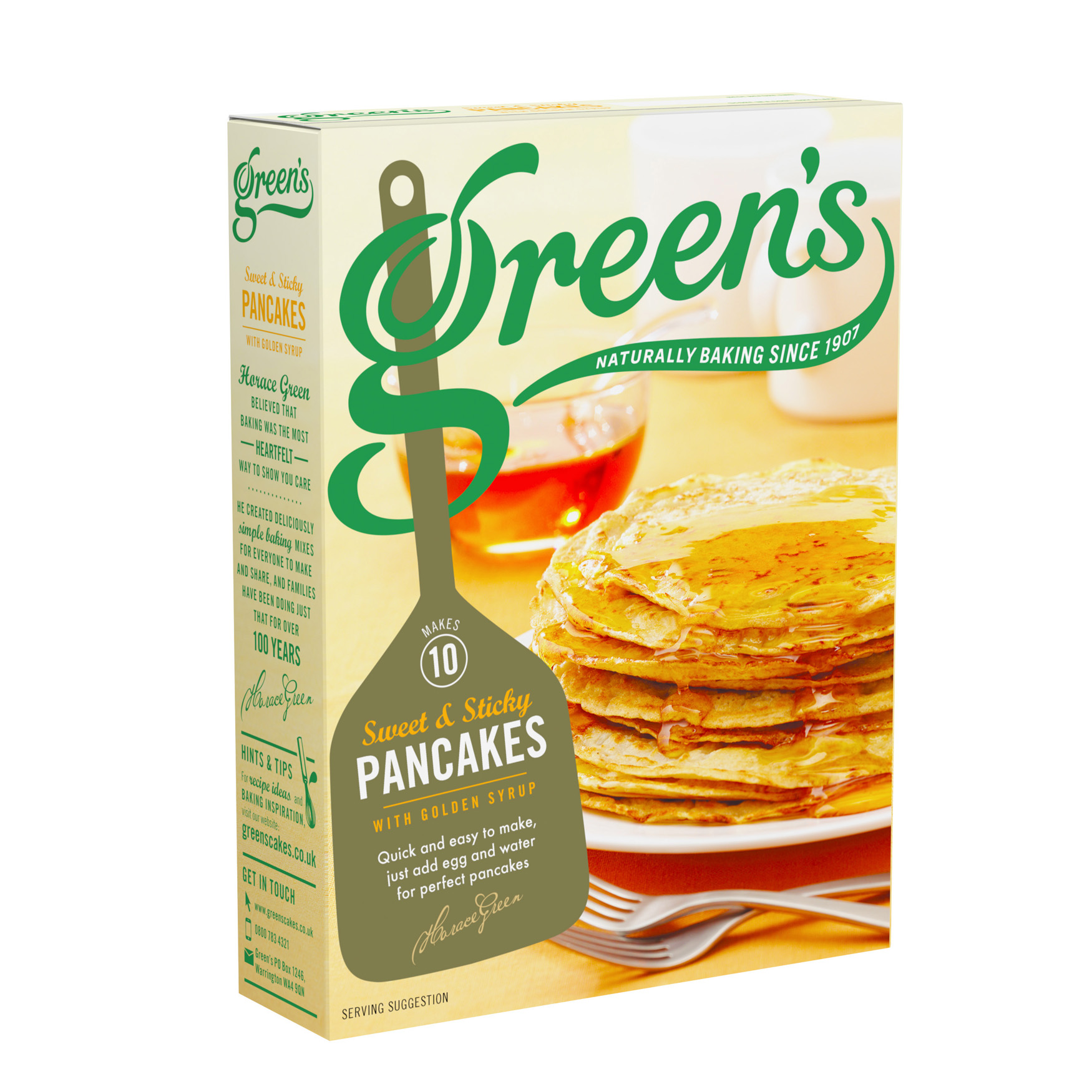 Pancakes with golden syrup by greens cakes pancakes with golden syrup packaging front ccuart