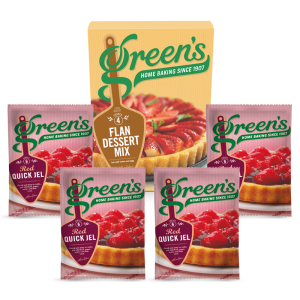 Green's Pearce Duff's Borwick's Summer Flan Deal With Red Quick Jel Desserts Cake Mix Time Savers