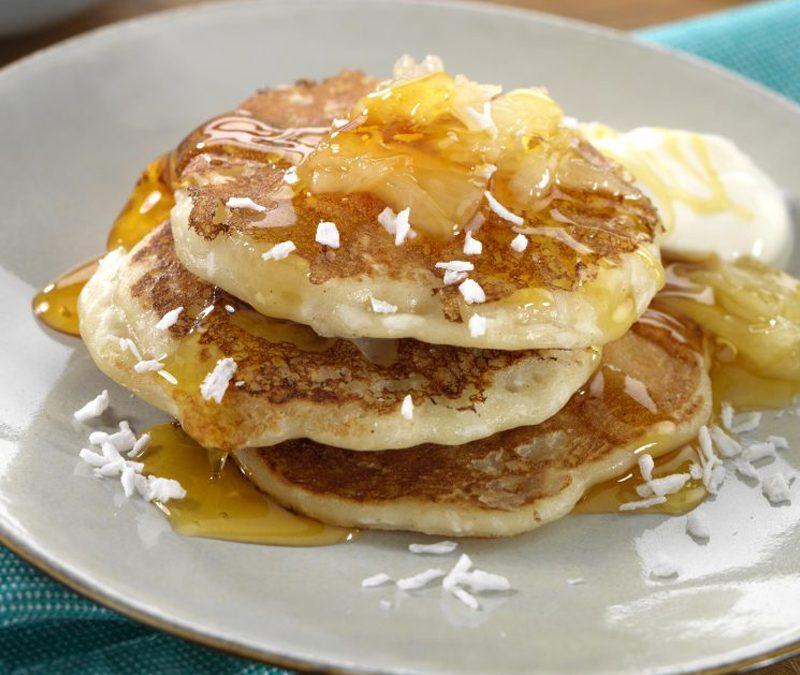 Pineapple & Coconut Pancakes with Golden Syrup & Créme Fraiche